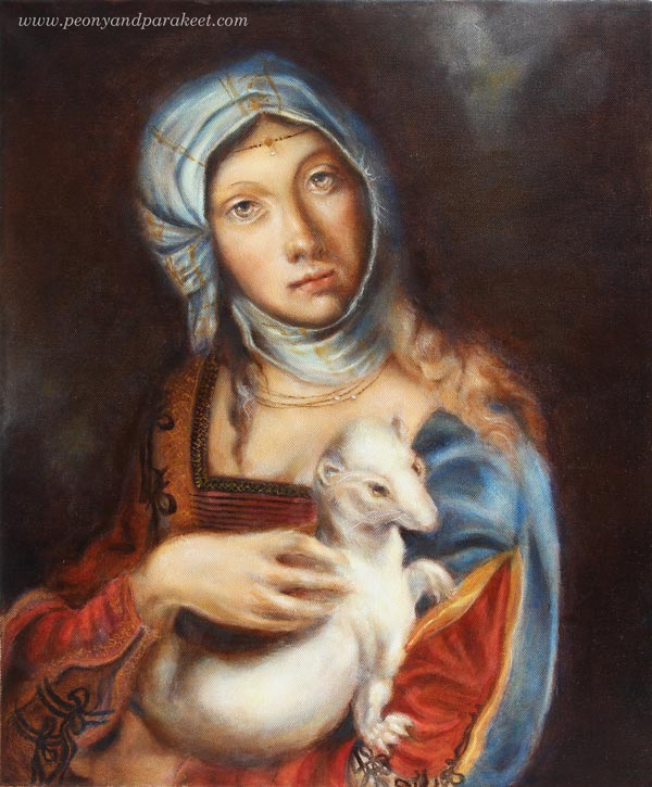 Gypsy Madonna, an oil painting by Paivi Eerola from Peony and Parakeet, combining two Renaissance paintings into one