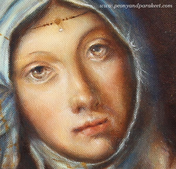 A detail of Gypsy Madonna, an oil painting by Paivi Eerola from Peony and Parakeet, combining two Renaissance paintings into one
