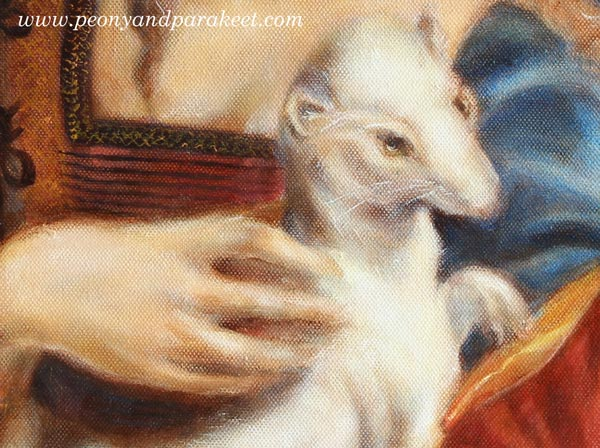 A detail of a Gypsy Madonna, an oil painting by Paivi Eerola from Peony and Parakeet, combining two Renaissance paintings into one