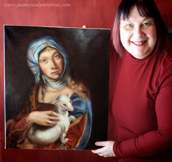 Paivi Eerola from Peony and Parakeet, with Gypsy Madonna, one of her oil paintings. Read her blog post about feeling like an outsider as an artist and how to get through it!