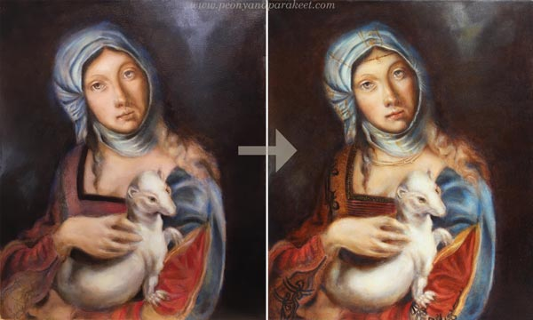 Making of a Gypsy Madonna using old masters painting techniques, finishing, by Paivi Eerola from Peony and Parakeet