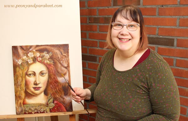 Paivi Eerola from Peony and Parakeet with one of her paintings in progress. Read more about finding your style in art!