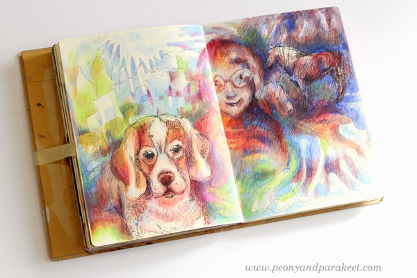 """My love for animals"" - An art journal spread by Paivi Eerola from Peony and Parakeet."