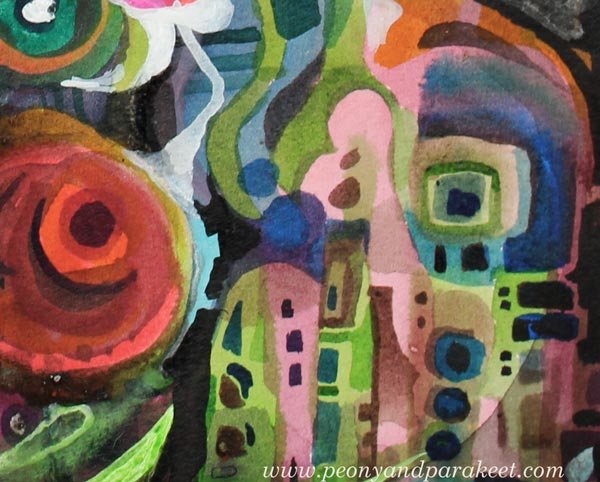 A detail of a mixed media painting. By Paivi Eerola from Peony and Parakeet. Read her thoughts about finding the purpose for your art making!