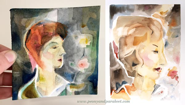 Watercolor paintings by Paivi Eerola from Peony and Parakeet.