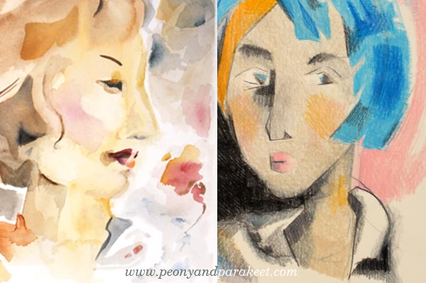 Portraits in the style of Helene Scherfbeck, by Paivi Eerola from Peony and Parakeet. See her step-by-step instructions!