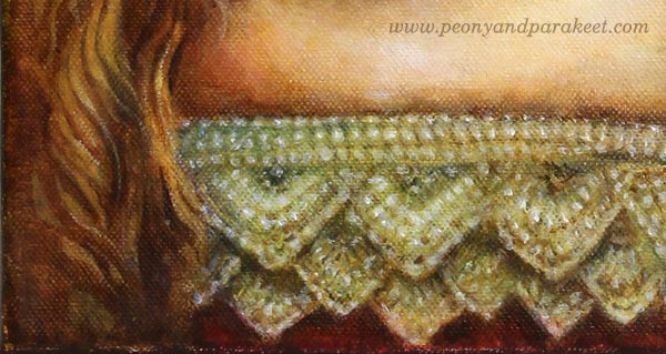 A detail of Strawberry Madonna, an acrylic painting by Paivi Eerola from Peony and Parakeet