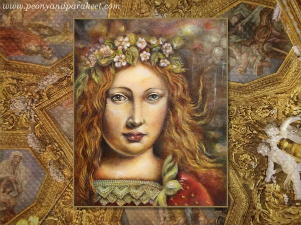 Strawberry Madonna, an acrylic painting by Paivi Eerola from Peony and Parakeet - with a ceiling from Palazzo Pitti, Florence, Italy