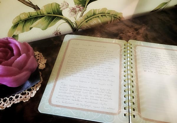 Writing a story in an journal, by Peony and Parakeet