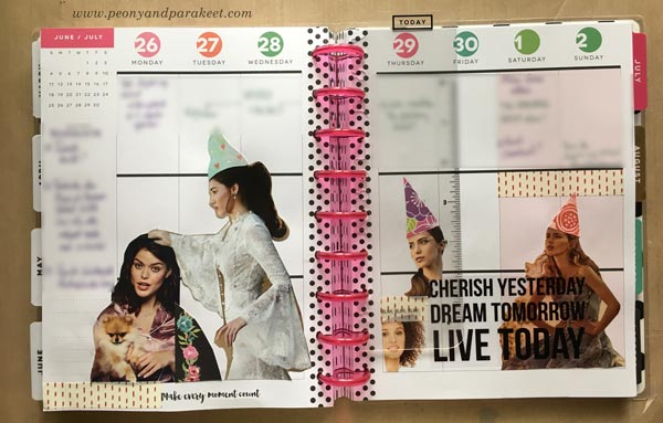 A planner spread using images from a wedding magazine. By Peony and Parakeet.