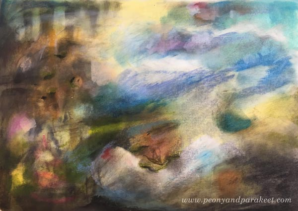 Abstract Landscape created with Faber-Castell Gelato Sticks. By Paivi Eerola from Peony and Parakeet. See her 3 tips for using gelatos!