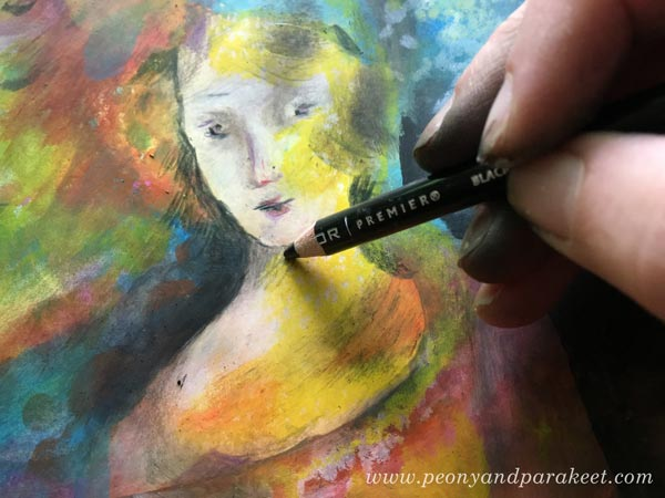Drawing with colored pencils on a surface covered with Faber-Castell Gelato sticks. Read more tips for working with Gelatos! By Paivi Eerola from Peony and Parakeet.