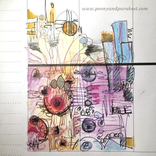 Sketching a mixed media painting idea. By Paivi Eerola from Peony and Parakeet.