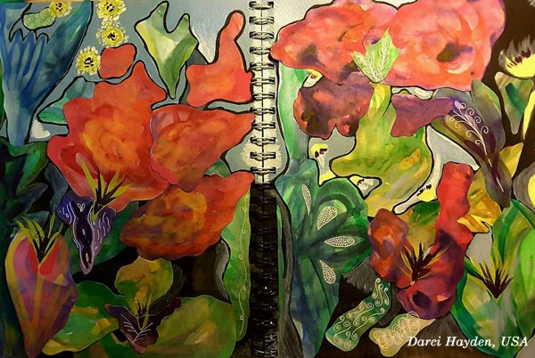 "An art journal page spread by Darci Hayden, USA. Based on the mini-course ""Botanical Discovery"" by Peony and Parakeet."