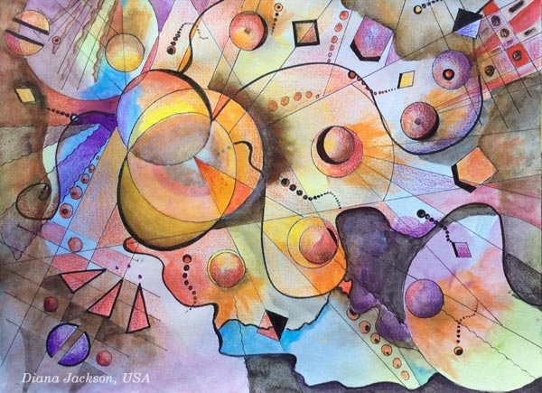 "A mixed media drawing by Diana Jackson, USA. Base on the mini-course ""Romantic Geometry"" by Peony and Parakeet."