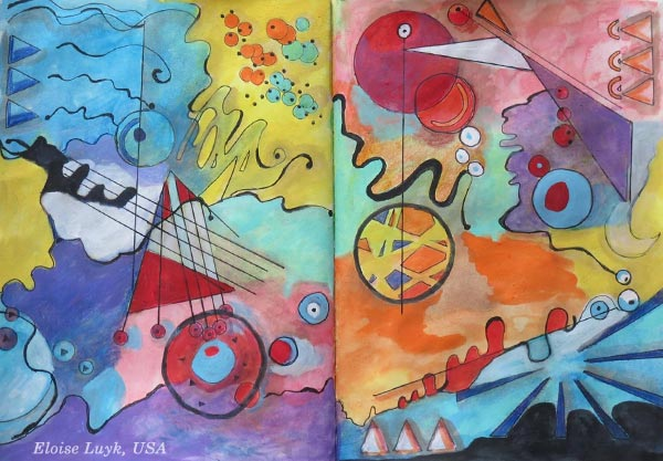 "An art journal page spread by Eloise Luyk, USA. Based on the mini-course ""Romantic Geometry"" by Peony and Parakeet."
