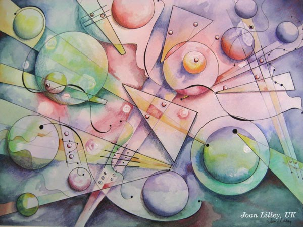 "A mixed media painting by Joan Lilley, UK. Based on the mini-course ""Romantic Geometry"" by Peony and Parakeet."