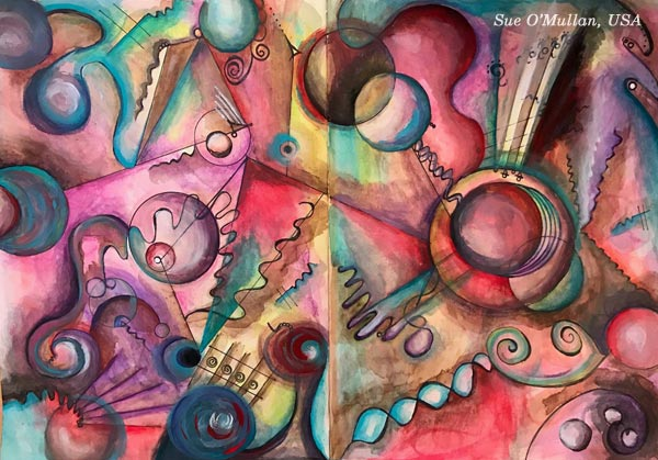 "An art journal page spread by Sue O'Mullan, USA. Based on the mini-course ""Romantic Geometry"" by Peony and Parakeet."