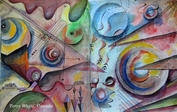 "An art journal page spread by Terry Whyte, Canada. Based on the mini-course ""Romantic Geometry"" by Peony and Parakeet."