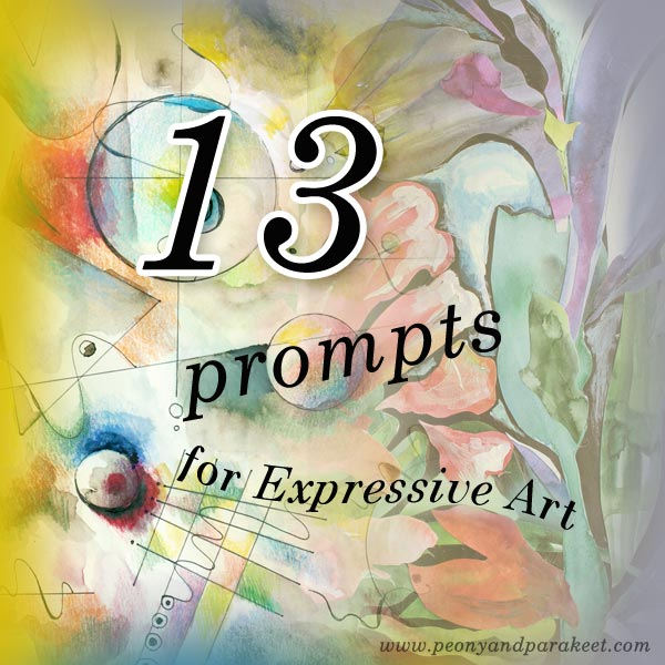 13 prompts for expressive art by Peony and Parakeet