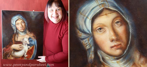 Paivi Eerola and her oil painting combining Lady with an Ermine by Leonardo da Vinci, and Gypsy Girl by Boccaccio Boccaccino