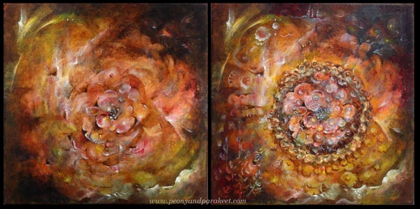 Flower painting, two versions. By Paivi Eerola from Peony and Parakeet.