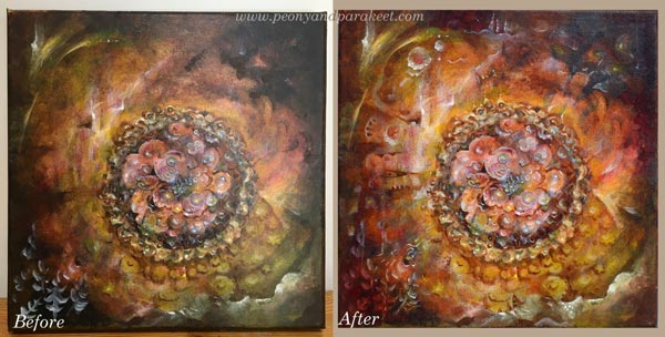 Altering a flower painting. By Paivi Eerola from Peony and parakeet.