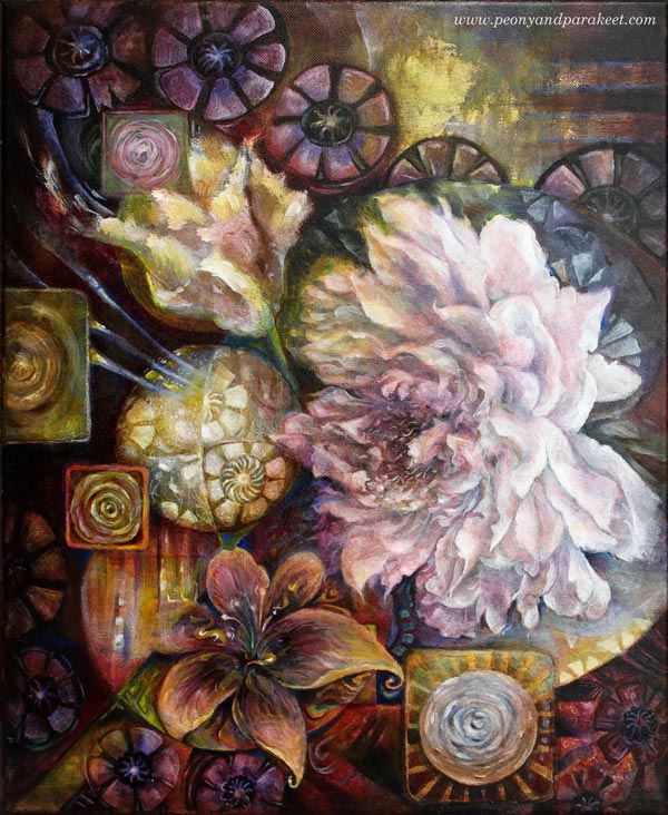 """Blooming Centuries"", an acrylic painting by Paivi Eerola from Peony and Parakeet."