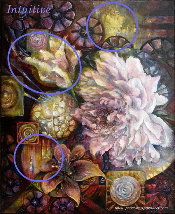 Blooming Centuries by Paivi Eerola from Peony and Parakeet. The intuitive elements of the painting.