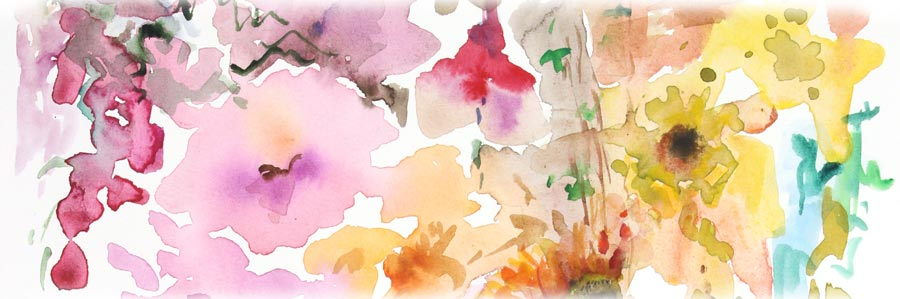 Watercolor painting for an online art class Floral Fantasies in Three Styles. By Peony and Parakeet.