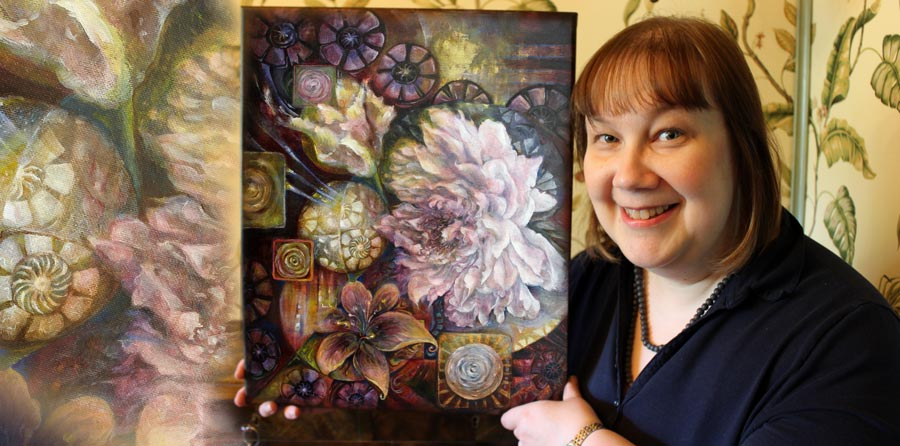 Paivi Eerola from Peony and Parakeet and her flower painting called Blooming Centuries.