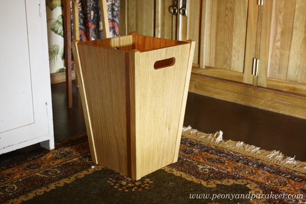 a perfect wooden wastepaper basket