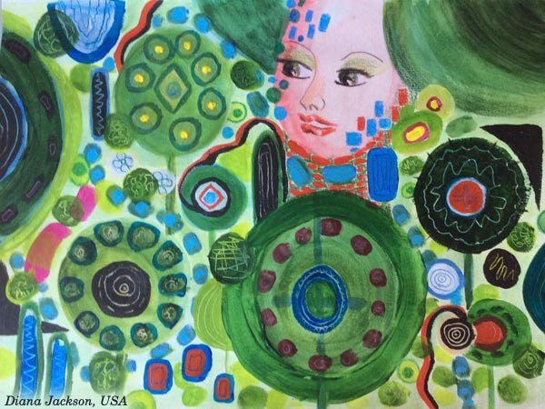 Inspired by Gustav Klimt. Diana Jackson, USA - a student artwork from the mini-course Patterned Topiary. By Peony and Parakeet.