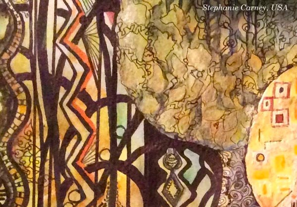 Inspired by Gustav Klimt. Stephanie Carney, USA - a detail of a student artwork from the mini-course Patterned Topiary. By Peony and Parakeet.