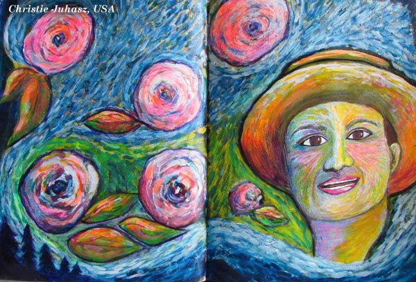 Vincent van Gogh inspiration by Christie Juhasz, USA. An art journal page spread made from the mini-course Selfie Fantasy by Peony and Parakeet.