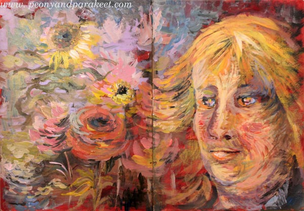 A self-portrait in Vincent van Gogh's style. By Paivi Eerola by Peony and Parakeet.