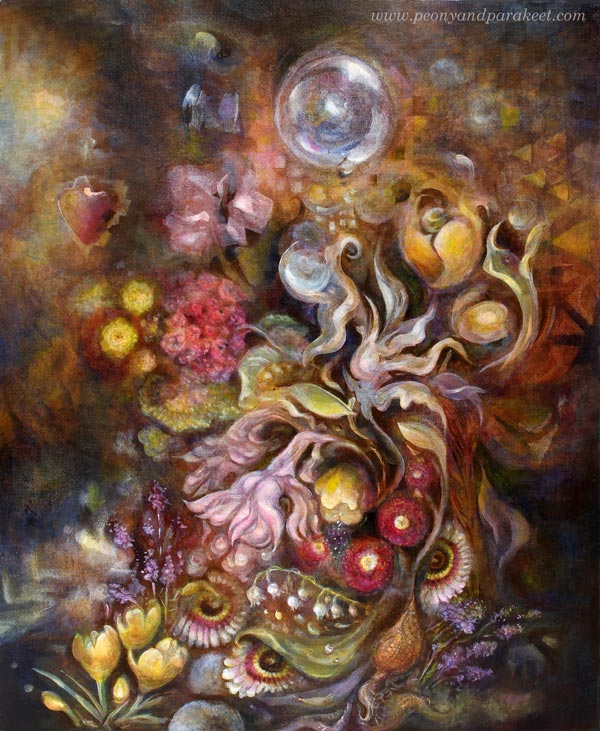 """Living Treasure"", an acrylic painting by Paivi Eerola from Peony and Parakeet. Read about her thoughts of painting a series."