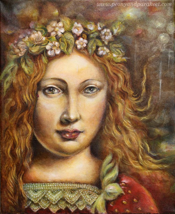 """Strawberry Madonna"", an acrylic painting by Paivi Eerola from Peony and Parakeet."