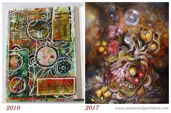 Paivi Eerola's art journal page from 2010, and her painting from 2017. Growing as an artist and becoming a mentor.