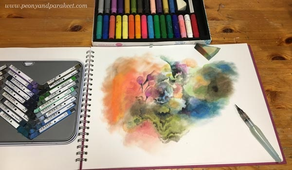 Starting an art journal page by Paivi Eerola from Peony and Parakeet. See more tips on how to create intuitively!