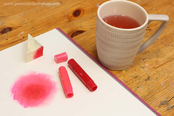 Starting the morning by creating art. See the method for using one color for one mixed media piece!