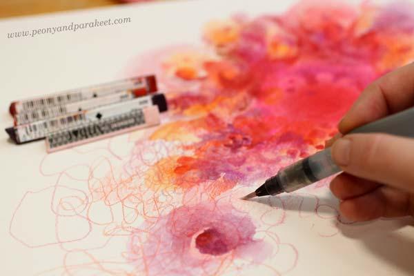 Using Derwent Artbars for mixed media art.