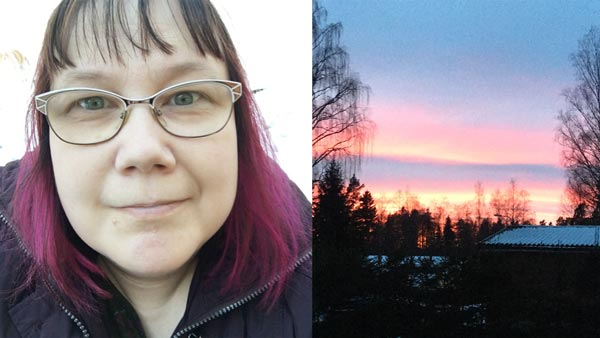 Paivi Eerola and sunset in Finland