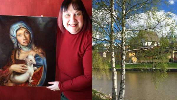 Paivi Eerola with her old masters' painting and spring in Porvoo, Finland