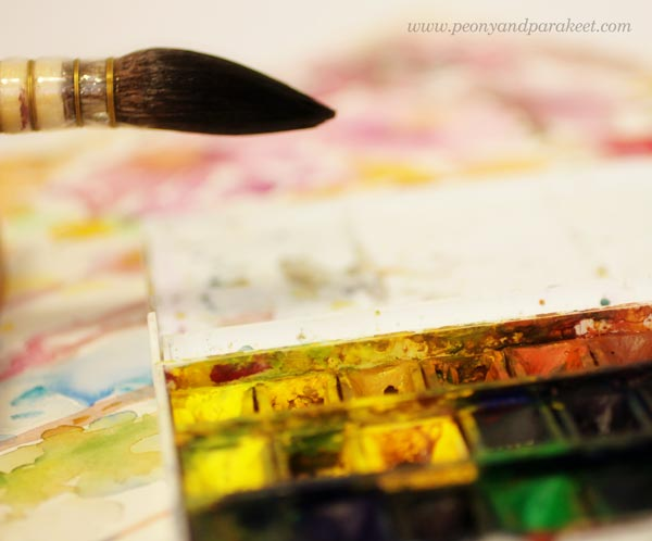Intuitive painting. Watercolors and watercolor brush. By Paivi Eerola from Peony and Parakeet
