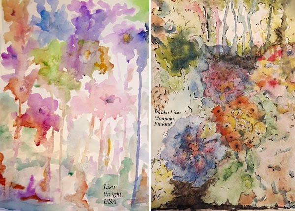 By Lisa Wright, USA and Pirkko-Liisa Mannoja, Finland. Student artwork from Peony and Parakeet's class Floral Fantasies in 3 Styles.