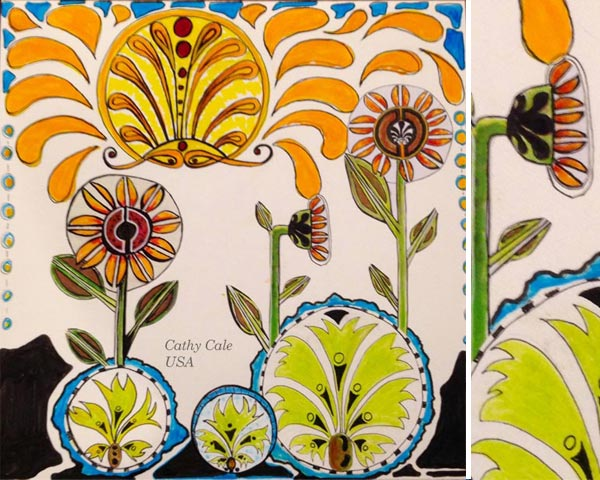 By Cathy Cale, USA. Student artwork from Peony and Parakeet's class Floral Fantasies in 3 Styles.