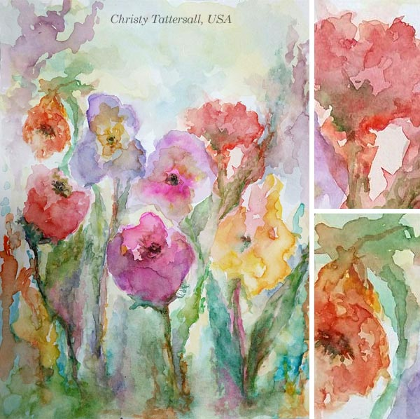 By Christy Tattersall, USA. By Stephanie Carney, USA. Student artwork from Peony and Parakeet's class Floral Fantasies in 3 Styles.
