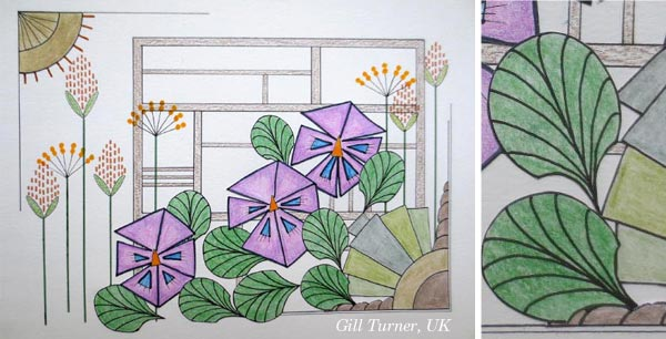 By Gill Turner, UK. Student artwork from Peony and Parakeet's class Floral Fantasies in 3 Styles.