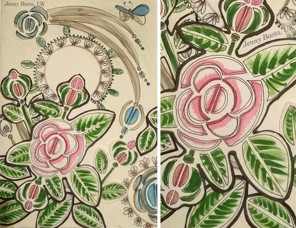 By Jenny Baeta, UK. Student artwork from Peony and Parakeet's class Floral Fantasies in 3 Styles.